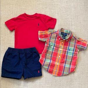 Ralph Lauren madras shirt, tee & shorts bundle